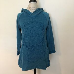 Lucky Brand Textured Hoodie Blue NWT XS